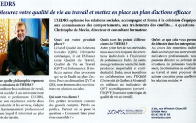 Management : Christophe de Meeûs interviewé sur la qualité de vie au travail.